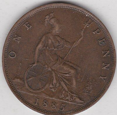 1885 Victoria Copper Penny In Very Fine Condition