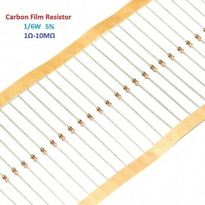 1000pcs Carbon Film Resistor 1/6W - Full Range of Values ( 1Ω-10MΩ )