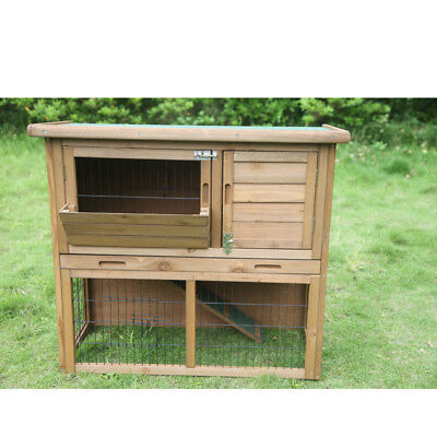 Large Wooden Rabbit Hutch Chicken Hen Coop Ferret cage Double Hatch