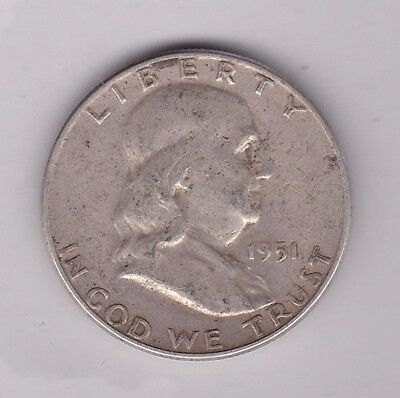 Usa 1951S Franklin Half Dollar In Used Fine To Good Fine Condition