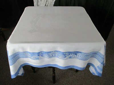 "Vintage Farmhouse Tablecloth - Willow Pattern - 48"" Sq."