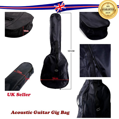 "Black Full Size 38"" 3/4 Padded Acoustic Classical Guitar Back Bag Carry Case UK"