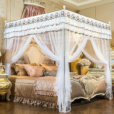 White 4 Post Bed Curtain Canopy Mosquito Netting Small Double King Super King