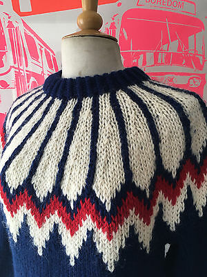 Vtg 80S Icelandic Bright Bold Red, Blue & White Traditional Wool Jumper-42""