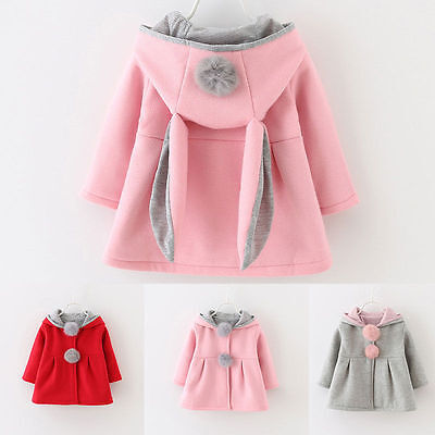Baby Girls Soft Warm Hooded Coat Jacket Tops Kids Outwear Clothes Newborn to 4Y