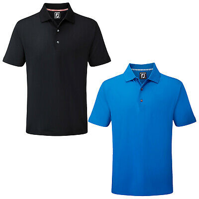 FootJoy Mens Stretch Polo Shirt - FJ Prodry Tech Solid Stripe Colours Top Golf