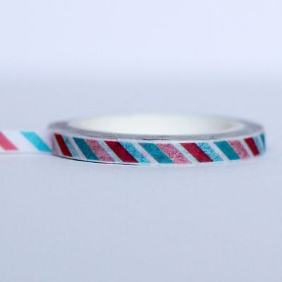 Airmail Style Washi Tape Green and Red Very Thin 8m x 0.5mm wide Craft