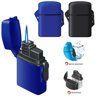 Zenga Zl4 Water Resistant Windproof Jet Blue Flame Lighter Refillable Gas Tank