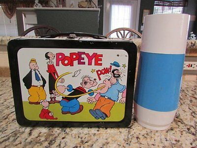 Vintage Very Nice Very Rare Old 1962 Popeye Metal Lunchbox & Generic Thermos