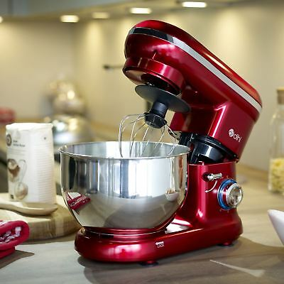 Dihl 1260W Red 6 Speed Food Electric Stand Mixer 5.5L Bowl, Dough Hook, Whisk