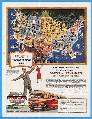 1949 National Trailways Bus System Map Of USA Vacation & Play Vintage Travel Ad