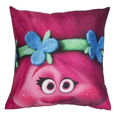 Trolls Glow Square Cushion - Official New Reversible Character Bedroom Pillow