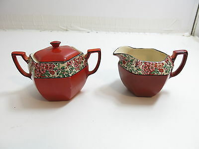Antique Crownford Made In England Sugar And Creamer Set In Red / Flowers