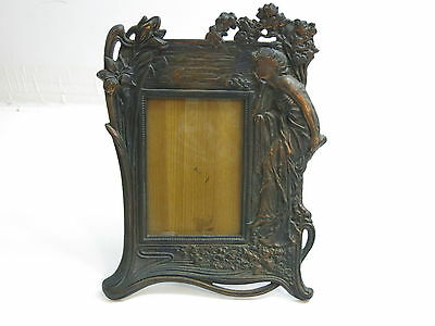 """Lovely Art Nouveau Style Lady Cast Iron Bronzed Picture Frame 11 1/2"""" Tall"""