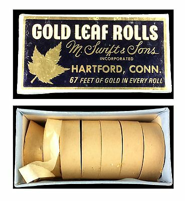 Vintage M. Swift & Sons Box of 7 XXD Gold Leaf Rolls 67' x 1/2""