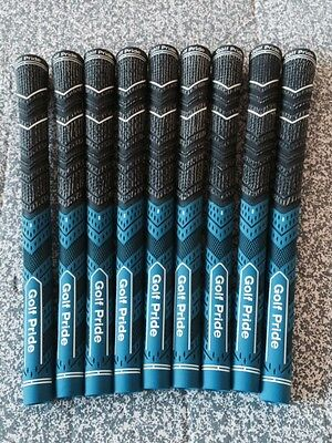 GOLF PRIDE MCC PLUS 4 BLUE/BLACK MIDSIZE GRIPS Inc TAPE & INSTRUCTIONS x 9 NEW