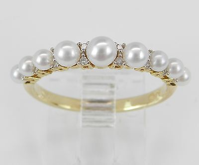 Pearl and Diamond Wedding Ring Anniversary Band Yellow Gold June Gem Size 6.75