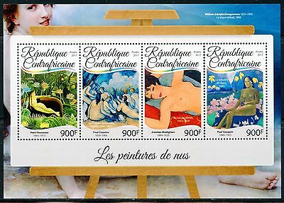 Central Africa  2017  Nude  Paintings Sheet Mint Nh