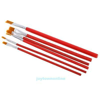 New 6 Pcs Red Artist Bristles Paint Brushes For Acrylic Watercolor Oil Paint