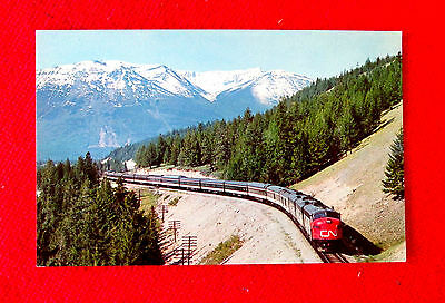 Canadian Rockies with Canadian National train Postcard msc2