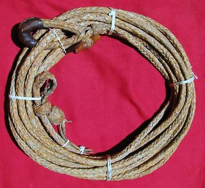 RARE ANTIQUE 8 PLAIT (STRAND) BRAIDED RAWHIDE REATA GOLD COLOR EARLY 1900s