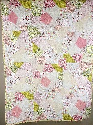 The Land of Nod Girls Floral Puzzle Patch Crib Quilt Baby Nursery Bedding Bed