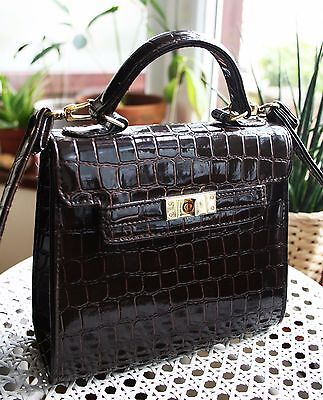 RARE Vintage Crocodile embossed faux leather boxy BAG urban outfitters