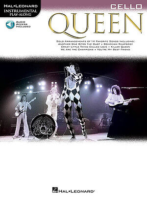 Queen for Cello Solo Sheet Music 14 Rock Songs Play-Along Book Online Audio NEW
