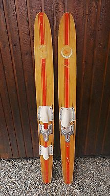 """ANTIQUE Set of Wooden 64"""" Long Waterskis  Water Skis BLOND FINISH"""