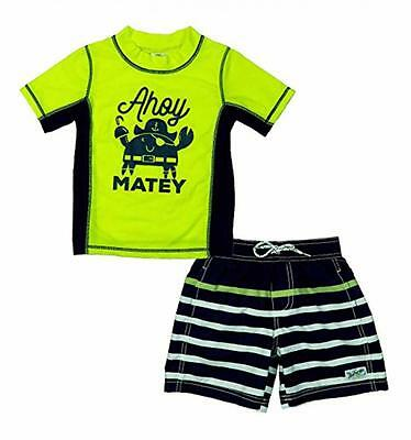 Carter's Boys Ahoy Matey 2pc Rashguard Swim Short Set Size 2T 3T 4T 4 5 6 7