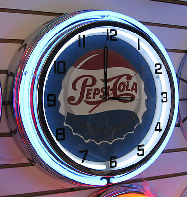 Pepsi Bottle Cap Large Double Ring Blue Neon Clock NIB