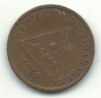 A Vintage Very Nice 1919 Nicaragua One Centavo Coin-May497