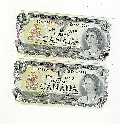 **1973**Canada $1 Note, Crow/Bouey # ECK 5630917 BC-46b (2 sequential)