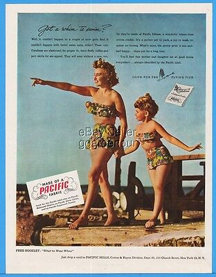 1949 Pacific Mills Mother Daughter Matching Swimsuits Look for Flying Fish Ad
