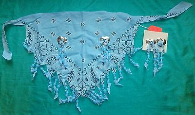 Light Blue Beaded Scarf w Clip Earrings  My Size Barbie, Adult or Child MYSF07WE