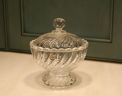 Baccarat France Crystal Swirl Covered Compote Bowl Retains Label