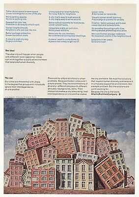 1971 Ideal City Buildings Magritte art ARCO Atlantic Richfield Company Print Ad