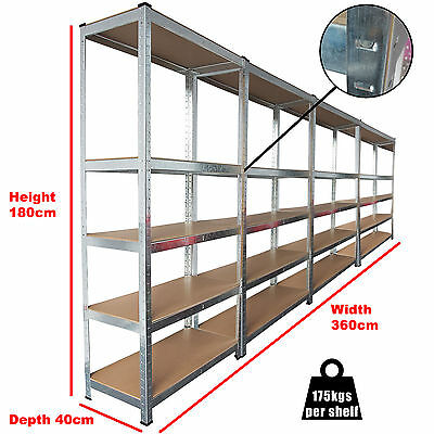 4 Bays 5 Tier Heavy Duty Boltless Metal Steel Shelving Storage Unit Industrial