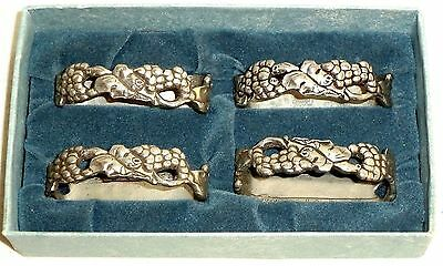 Seagull Pewter Napkin Rings Holder Set 4 Bunch of Grapes Canada 1989