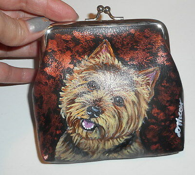 Norwich Terrier dog Hand Painted Leather Coin Purse Vegan Mini wallet