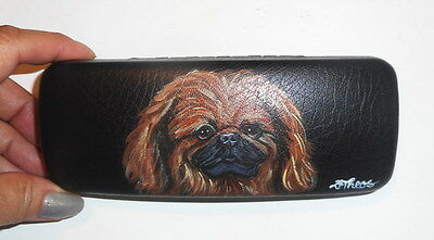 Pekingese dog Hand Painted Eyeglass Case