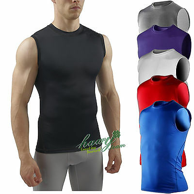 DRI-FIT Mens Body Compression Baselayer Sleeveless Sports Gear Gym Shirt Tops