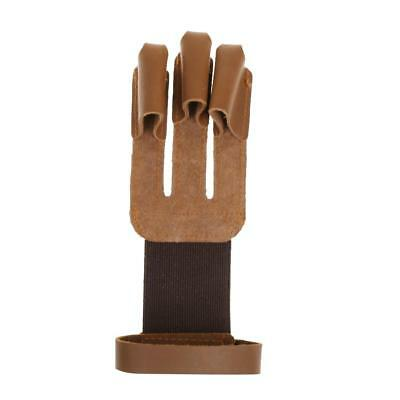 Cow Leather 3 Fingers Glove for Hunting Archery Finger Hand Protector Guard