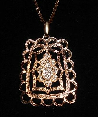 VTG Gold Tone CZ Rhinestone Encrusted Art Deco Art Nouveau Styled Necklace