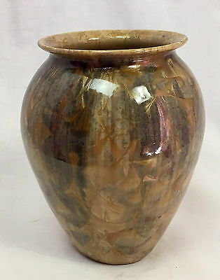 "Dover Art Pottery Brown Vase, Seagrove NC, 2003 Crystalline Glaze, 5"" Tall"