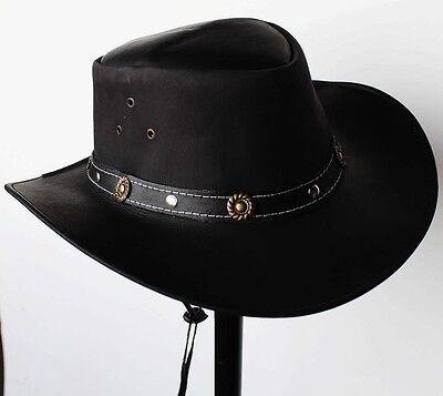 M Horse Western Cowboy Indiana Jones Crushable  Oiled LEATHER Outback Hat 24H03