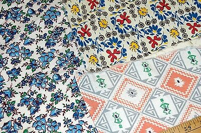 Vintage Feed Sack Cotton Fabric Flowers Geometric Pieces Quilt Crafts