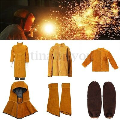 5 Types Cowhide Leather Welding Protective Jacket Clothing Apparel Suit Welder