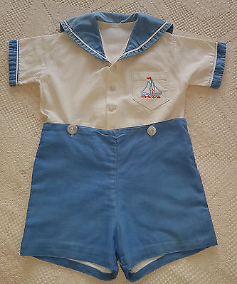 VNTAGE BABY BOY'S SAILOR SUIT 1940's ~ COLLECTORS, ANTIQUE, REBORN DOLLS, BEARS