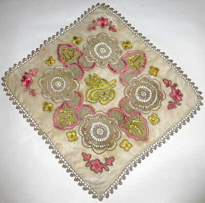 "Rare Antique 19th cen Islamic Turkish Ottoman 10"" Silk Embroidered Handkerchief"